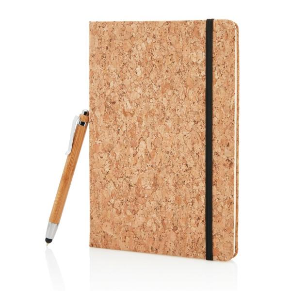 Billede af A5 notesbog samt bambuspen med stylus